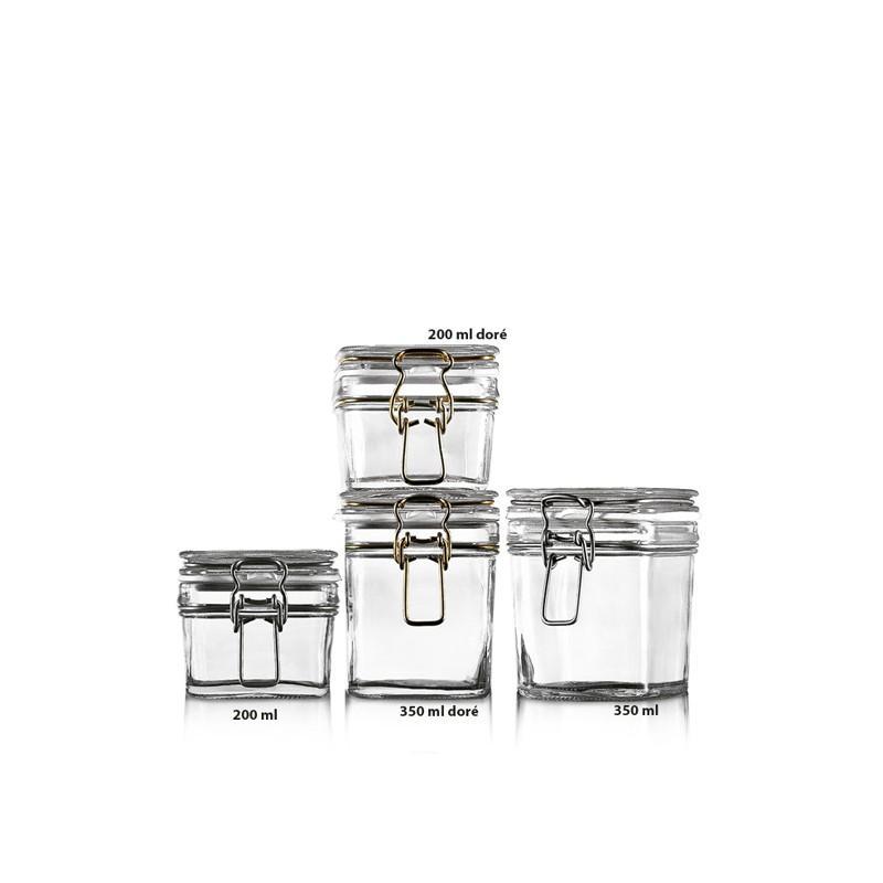 1 bocal Le Carré en verre 200 ml fermeture mécanique galvanisée - BOCAUX LE CARRE