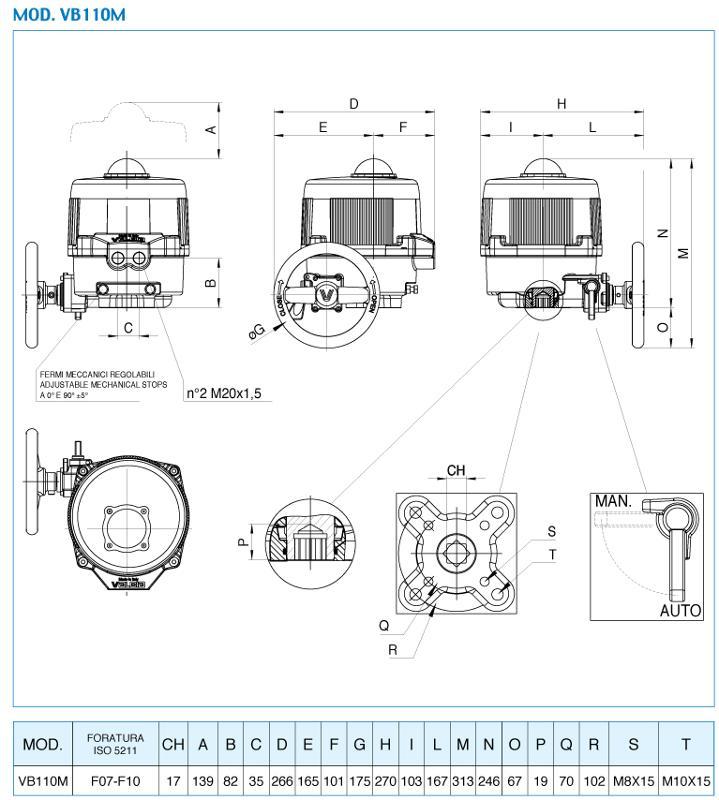 VB110M - ATTUATORE ELETTRICO SERIE 86