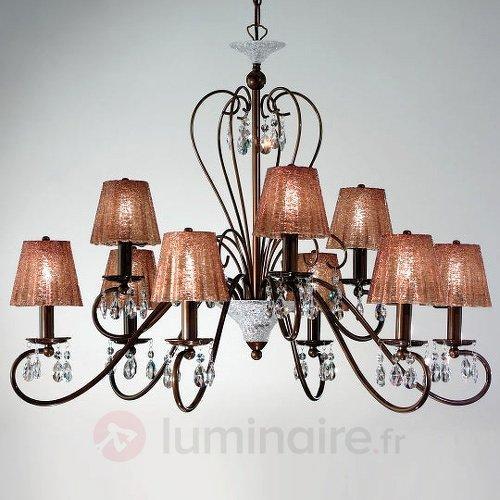 Lustre Rossella marron avec pampilles en cristal - Lustres rustiques