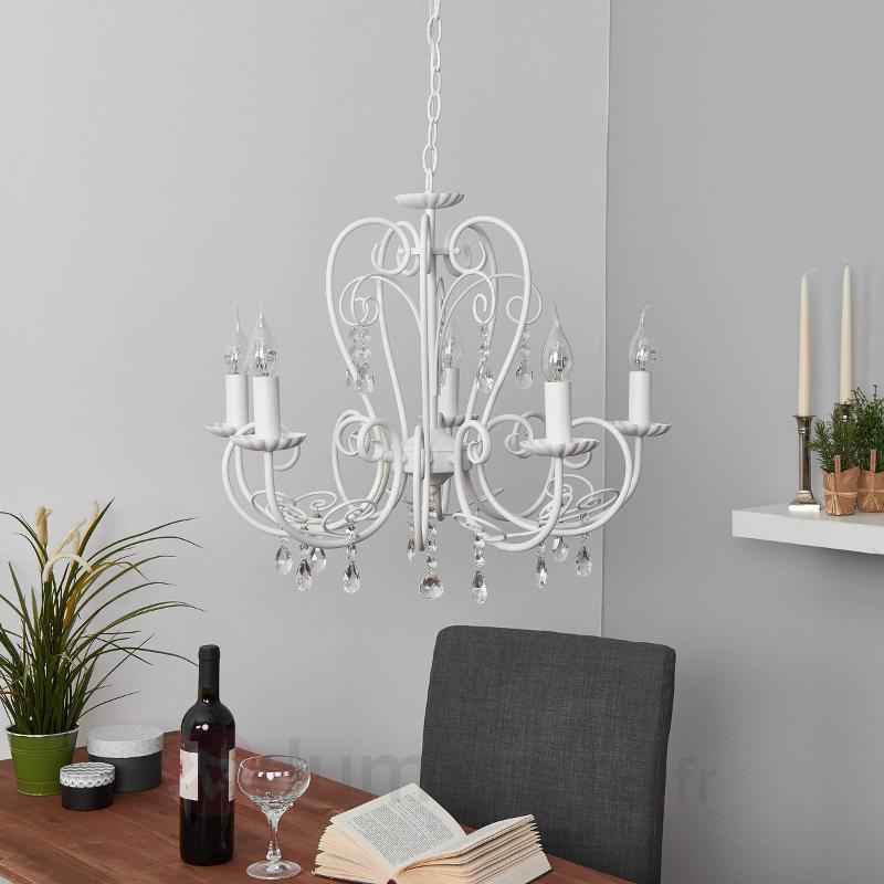 Lustre Sophina avec suspensions en cristal, blanc - Lustres classiques,antiques