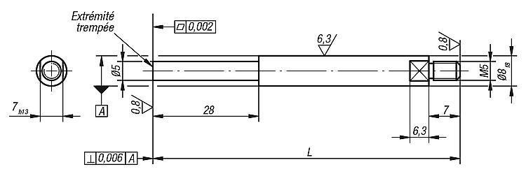 Touche à bout plat réduit - Eléments pour montage de contrôle