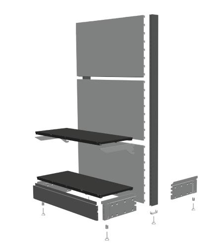 Modular shop rack systems & instore interior shelving design - Structure
