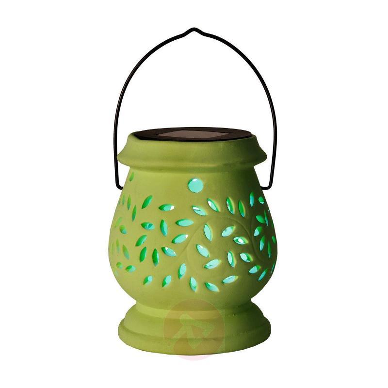 Green LED solar storm lamp Clay Lantern - Decorative Solar Lights