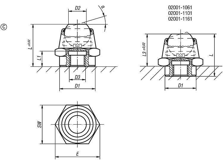 Support à bille oscillante angle d'inclinaison 14° et 20° - Support à bille oscillante