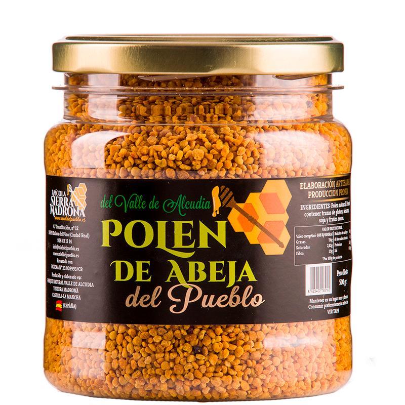"""Envase Polen seco 500g. - Envase plastico 500 gramos Polen seco """"Del Pueblo"""""""