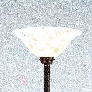 Lampadaire Bernadette avec verre à l'aspect marbre - Lampadaires à éclairage indirect