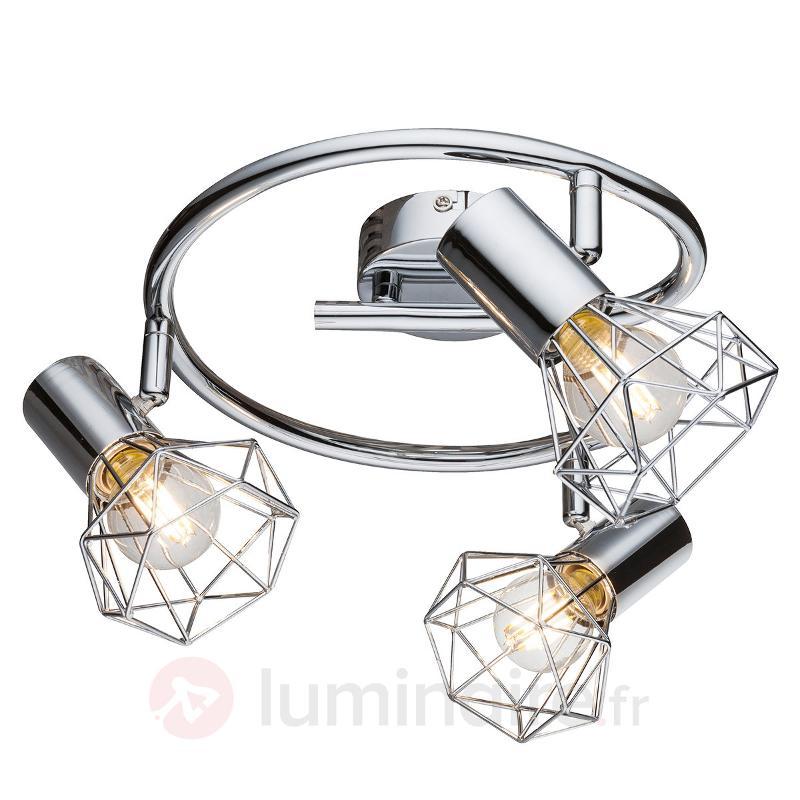Plafonnier Daiva à trois lampes - Plafonniers chromés/nickel/inox