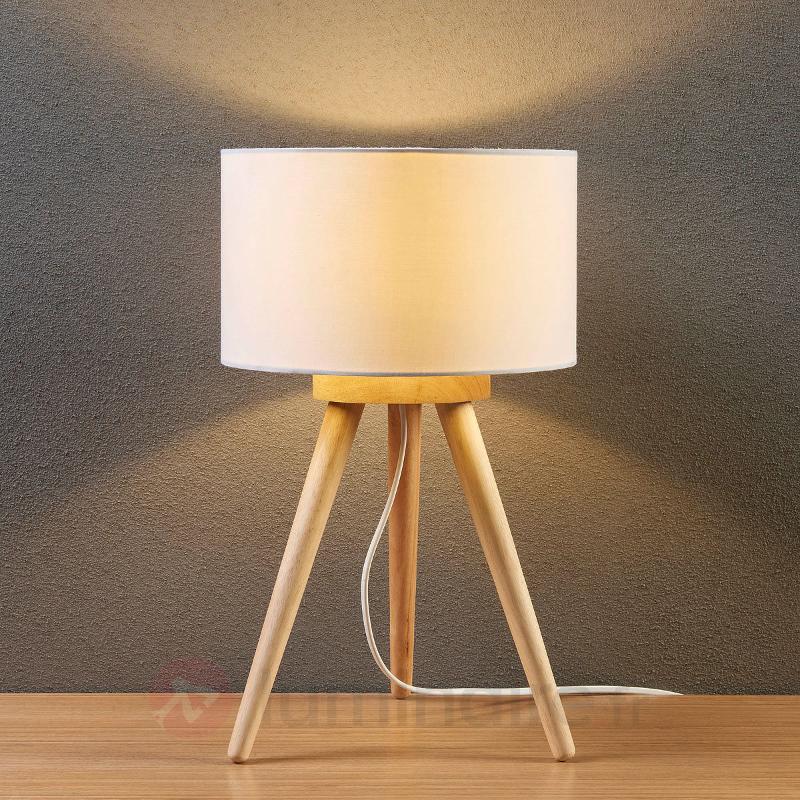 Lampe à poser en bois Charlia, abat-jour en tissu - Lampes à poser en tissu