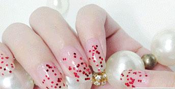 Cosmetics - Red Glitter Transparent Nail Polish