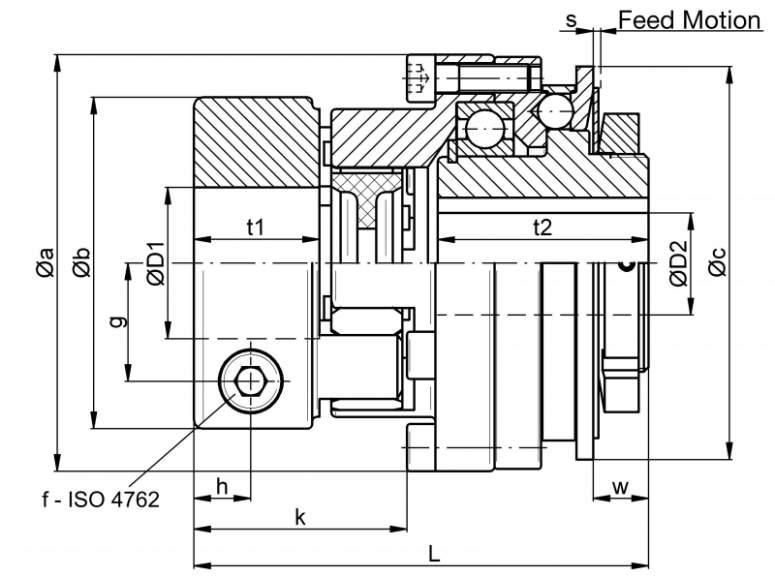 Safety coupling SKW-EK - Safety coupling SKW-EK with elastomer coupling attachment