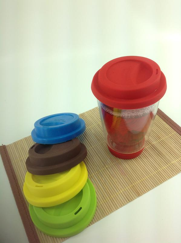 GLASS DOUBLE WALL CUP WITH SILICONE PARTS - 350ML