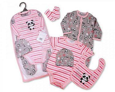 Baby Girls 5 Pieces Layette Gift Set - Panda -