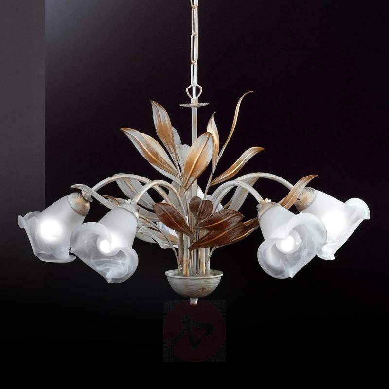 Valenzia five-bulb hanging light, antique white - indoor-lighting