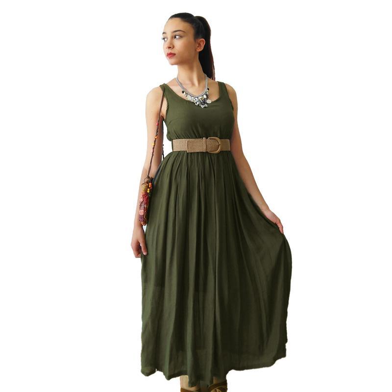 Vestido largo de tirantes, en verde militar - Vestido largo de tirantes, en verde safari, prenda básica para diario, imprescin