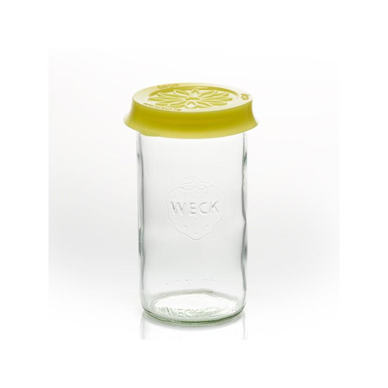 Accessori WECK® - Cuffia in silicone Blossom eCAP Storage, diametro 60 mm, colore Giallo per vasi