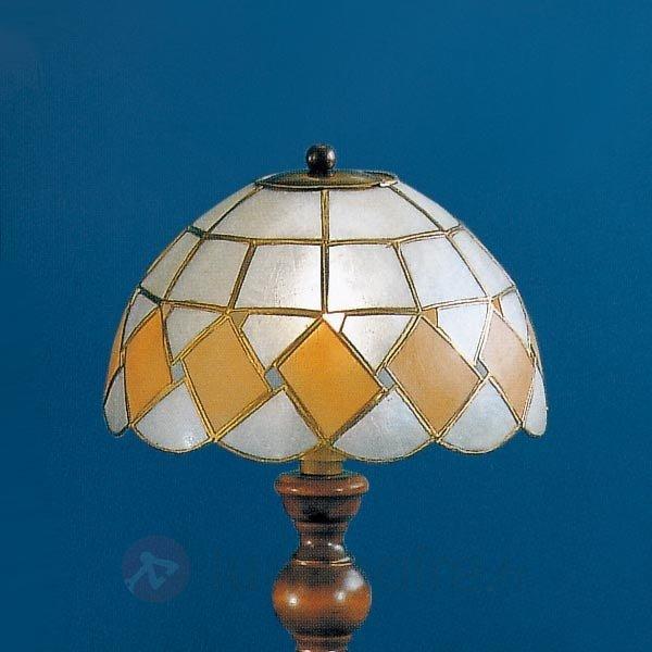 Lampe à poser stylée ASHTON avec abat-jour en nacr - Lampes à poser style Tiffany