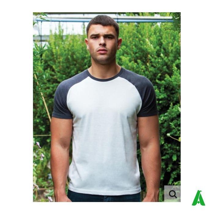 T-shirt 100% cotone organico ecologico, manica corta raglan - T-shirt manica corta raglan, bicolore, per uomo, 100% organico ed ecologico