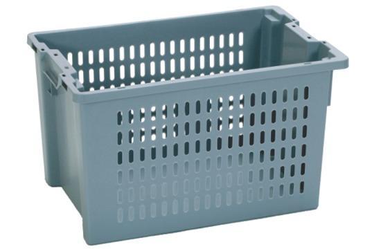 Caixas de plástico empilháveis e encaixáveis - sem abertura nas pegas, 66L (fechada e/ou gradeada)