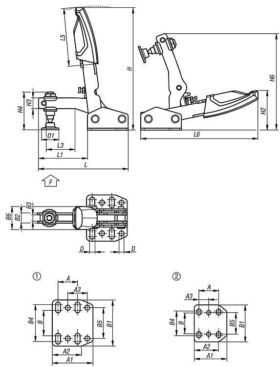 Sauterelle à serrage variable à levier vertical et à... - Sauterelles