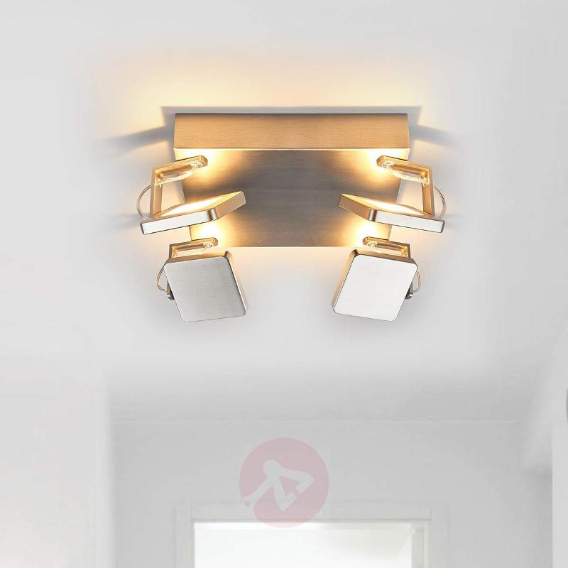 Square LED ceiling lamp Kena, nickel look - Ceiling Lights