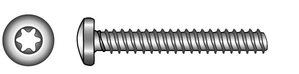Pan head tapping screws, with TX-six lobe drive (type... - Material A2