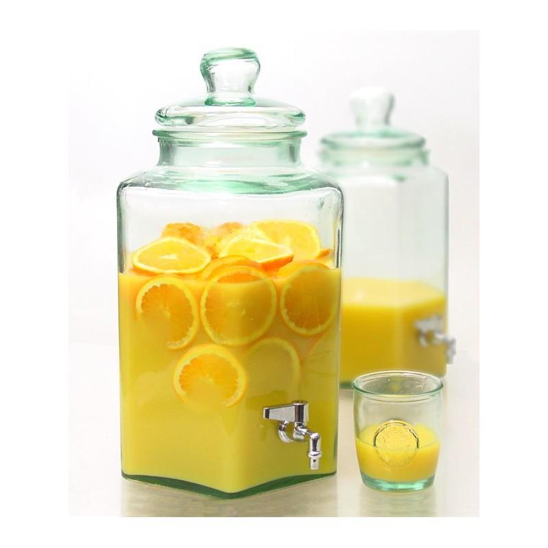 Damigiana esagonale 6.5 litri con rubinetto  - con coperchio in vetro. Vetro 100% riciclato