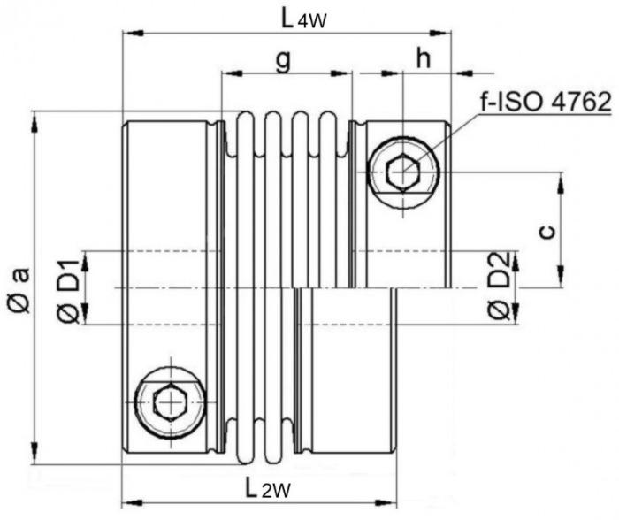 Miniature metal bellows coupling MKG-VA - Miniature metal bellows coupling MKG-VA - stainless steel version