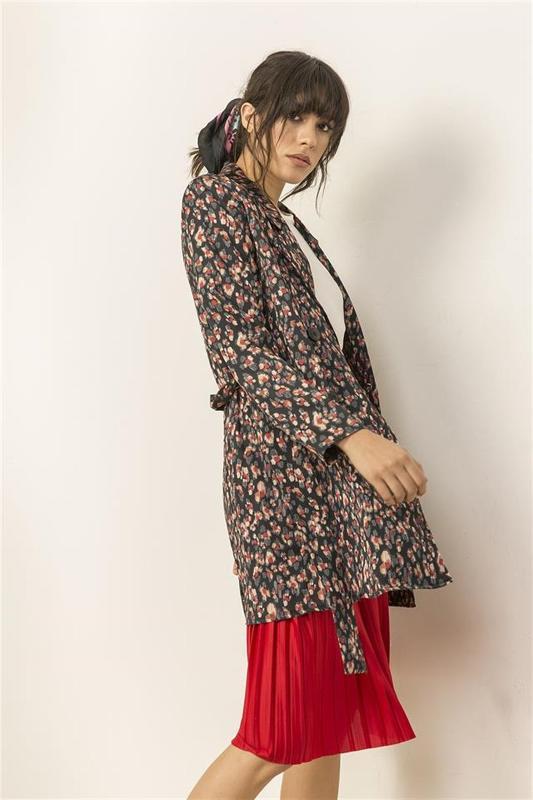 Women Pattern Black Cloak - Women Trench Coat