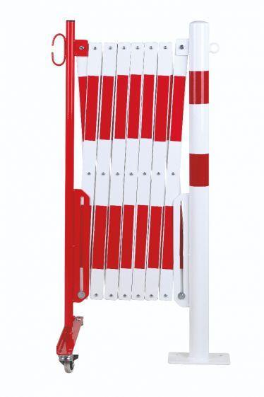Barrière Extensible Rouge-blanc 4m Avec Poteau Ø60mm - Barrières De Sécurité