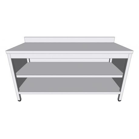 Table-armoire adossée ouverte en inox profondeur 60cm - Tables-armoires inox ouvertes