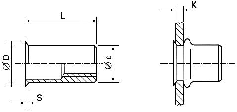 Blind rivet nuts - FASTEKS FILKO® - countersunk head 90° / round shank / open