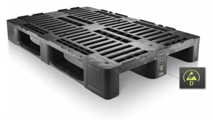 H1 ESD - Paleta de plástico, Palets Euro, Paletas ESD, Paletas conductible