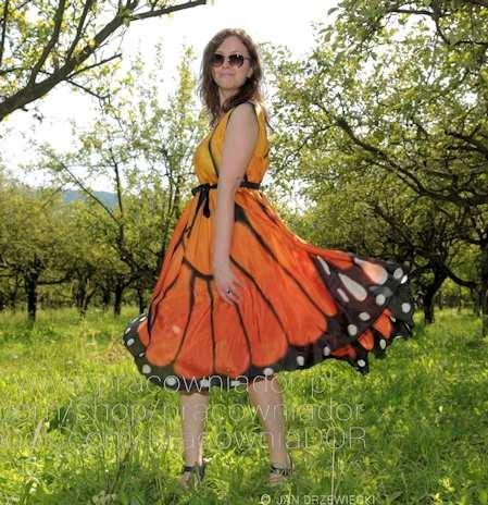 Hand painted silk clothes with butterfly pattern -