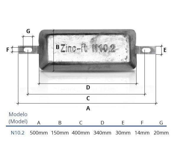 Ânodo de zinco para protecção catódica - Ânodos de casco