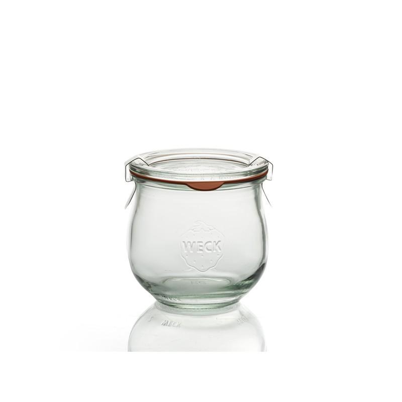 6 bocaux en verre WECK Corolle 370 ml, diamètre 80 mm  - avec couvercles et joints (clips non inclus)