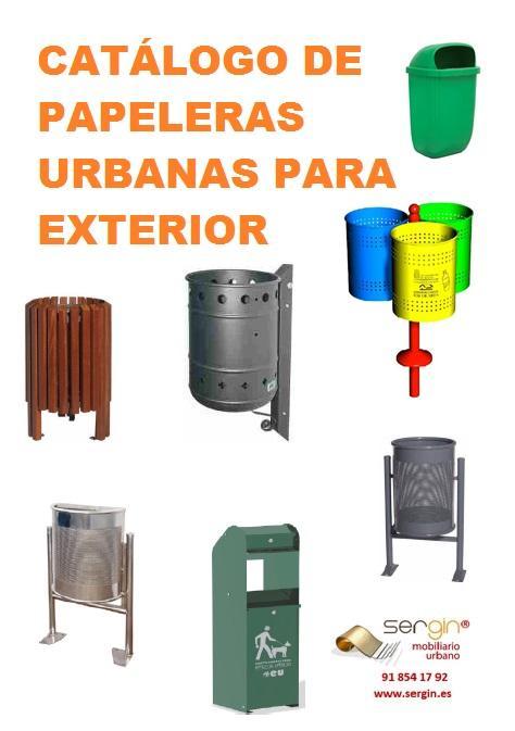 Papeleras urbanas para exterior - metálicas, plástico y madera.