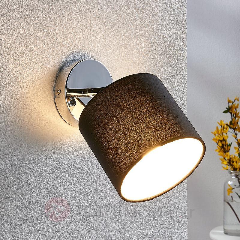 Applique LED textile Mairi avec abat-jour noir - Appliques en tissu