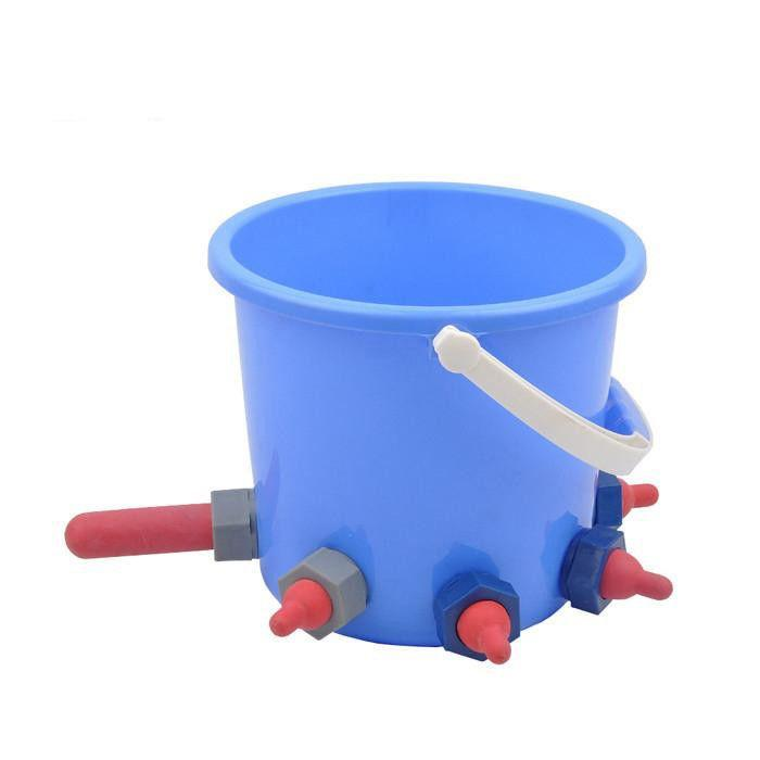 8L Plastic Calf /cattle Feeding/milk Bucket with 8 teats  - animal feeding bucket for cow with teat milk bucket