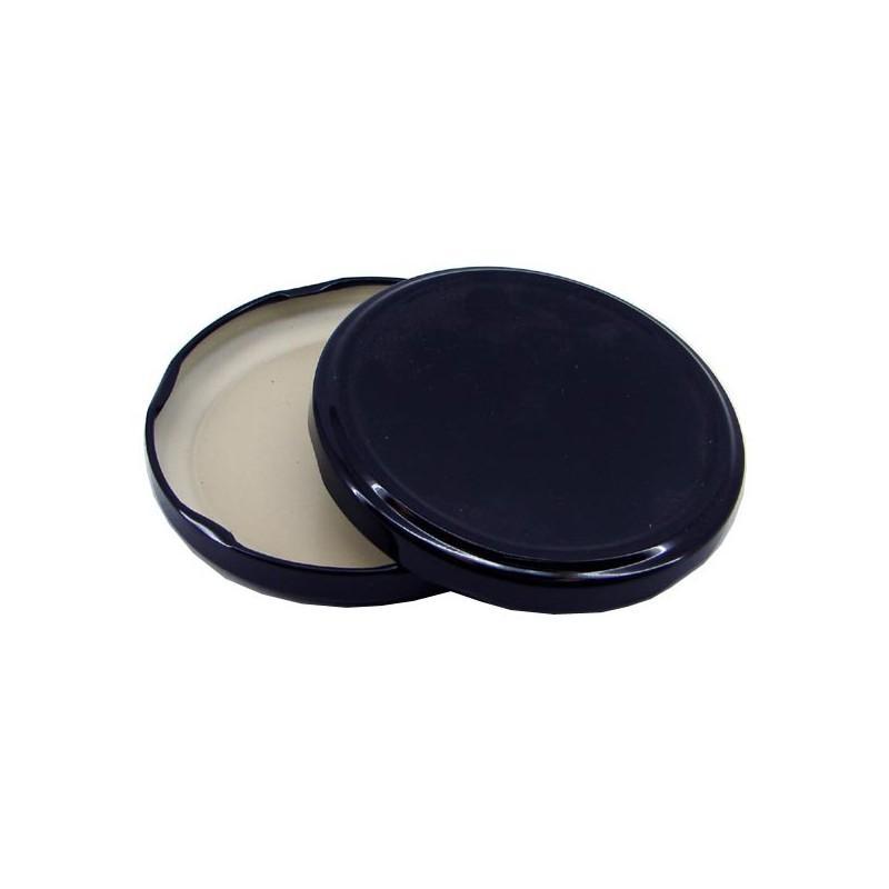 100 capsules diamètre 48 mm noires pasteurisables à visser pour bocaux en verre - NOIR