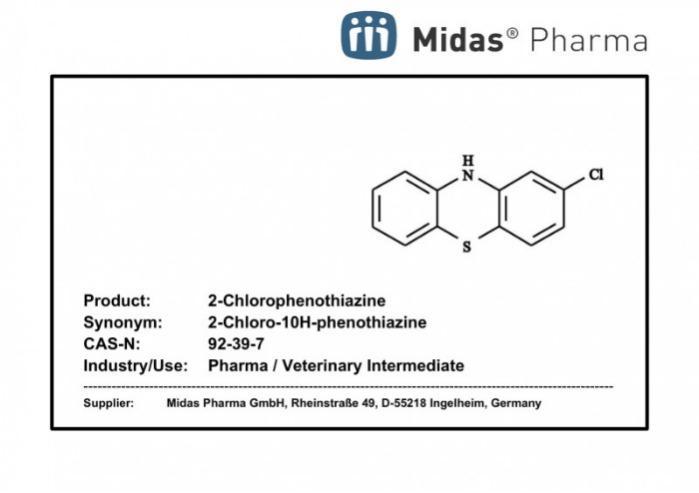 2-Chlorophenothiazine - 2-Chlorophenothiazine; CAS 92-39-7; Intermediate; Pharma; Veterinary
