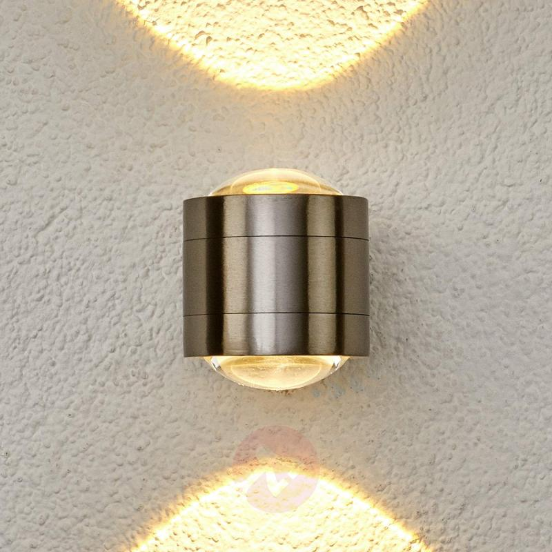 Effective, two-light LED outdoor wall light Lydia - stainless-steel-outdoor-wall-lights