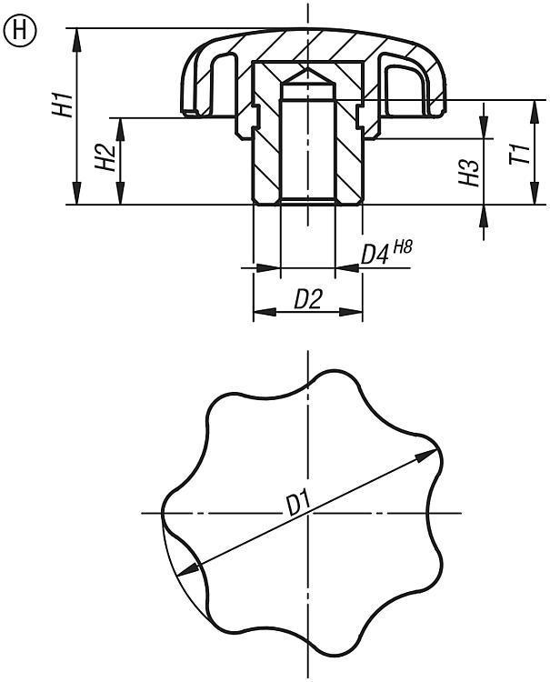Bouton étoile avec insert acier saillant - Poignées et boutons