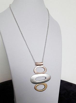 Collana lunga a tre ovali - Ovali con placcature di colore diverso
