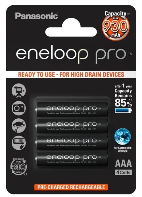 Batterie ministilo ricaricabili Eneloop Pro 4pz - BK-4HCDE/4BE | Blister da 4 pile AAA Panasonic