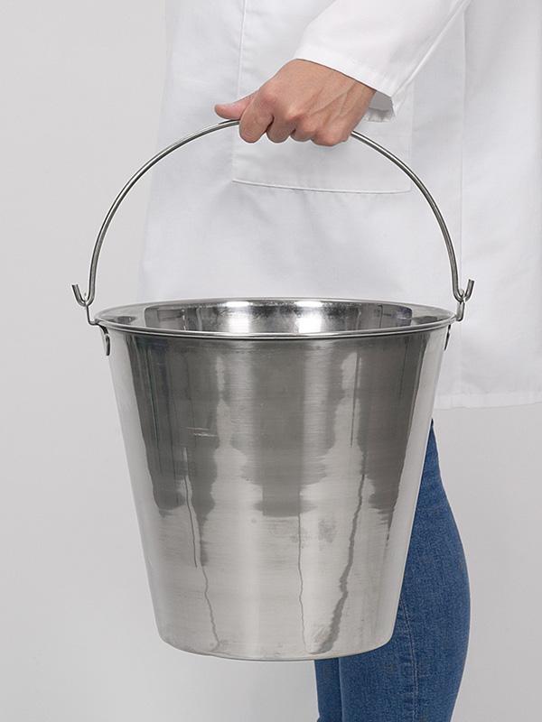 Cubo de acero inoxidable - Equipo de laboratorio e industrial, pulido de alto brillo, 10 l, 15 l