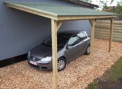 Abri voiture bois - Abri bûches - Adossé
