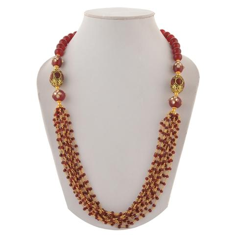 Kundan Stones Necklace  - Zephyrr Fashion Beaded Necklace for Woman with Crystal Beads Kundan Stones