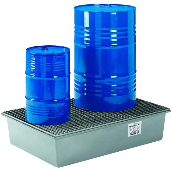 Auffangwanne 220 l Kunststoff GFK 220-2 - für 2 Fässer mit verzinktem Gitterrost