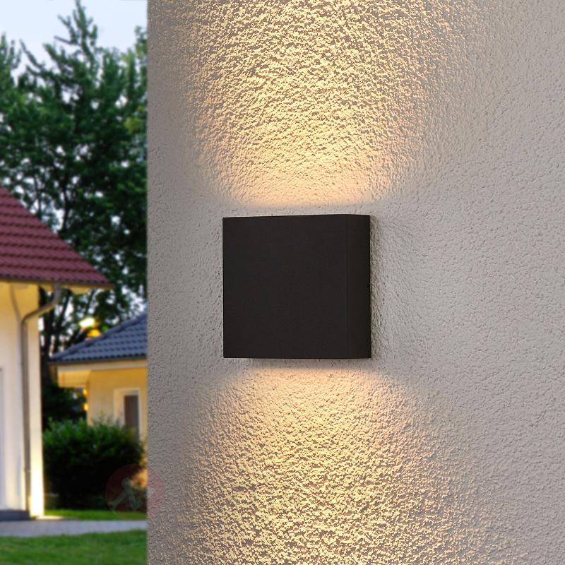 Applique d'extérieur LED carrée Trixy, graphite - Appliques d'extérieur LED