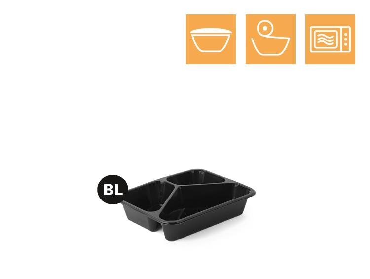 PP tray, 3-comp - Microwave trays